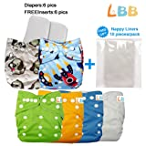Baby Reusable Boy Pocket Cloth Diapers, 6 pcs + 6 Inserts (Color: Rock, Tamaño: One Size)