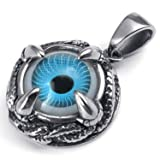 MENDINO Stainless Steel Dragon Claw Blue Devil Eye Pendant Mens Necklace With 22 inch Chain