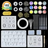 LET'S RESIN Jewelry Making Molds 10 Pack Silicone Molds for Resin Jewelry - Resin Casting Molds Kit with Tools including Hand Twist Drill, Screw Eye Pins,Plastic Stirrers/Spoons/Droppers & Mylar Flakes, perfect gift for Christmas (Color: Jewelry Molds)