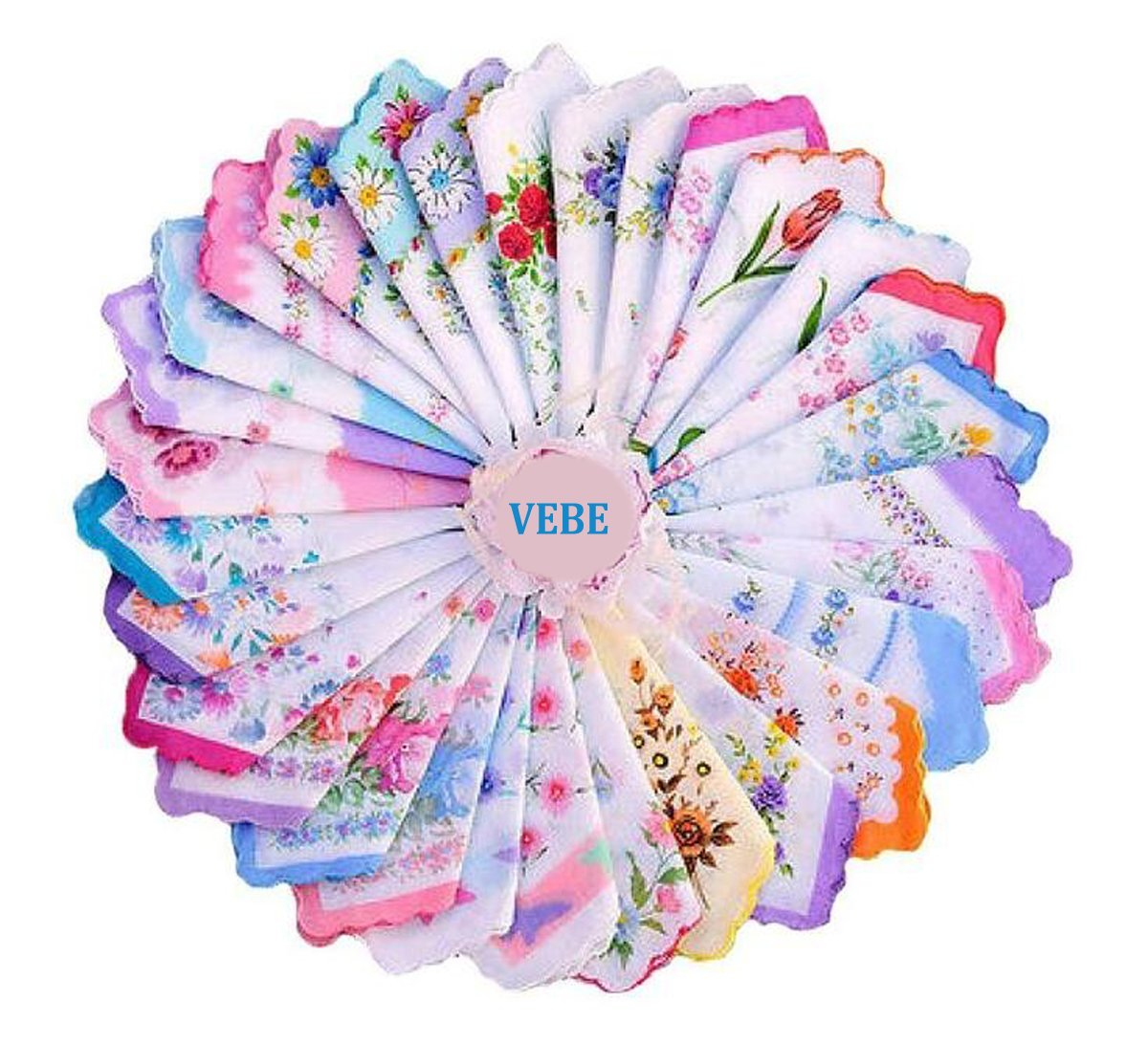 VEBE Womens/Girls Vintage Floral Wedding Party Cotton Handkerchiefs 0