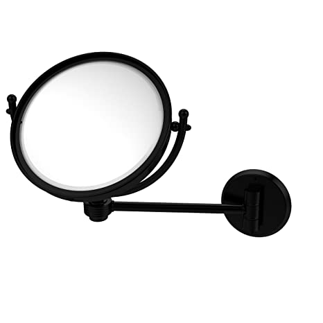 Allied Brass WM-5G/2X-BKM 8-Inch Wall Mounted Make-Up Mirror with 2x Magnification, Matte Black