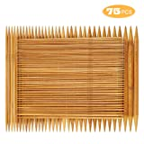 RELIAN Double Pointed Knitting Needles - 75 Pcs Bamboo Knitting Needles Set, 15 Sizes from 2.0mm-10.0mm, 8 Inches Length, Ideal for Socks, Gloves, Hats and Scarfs (Color: brown, Tamaño: DPN 8 INCH)