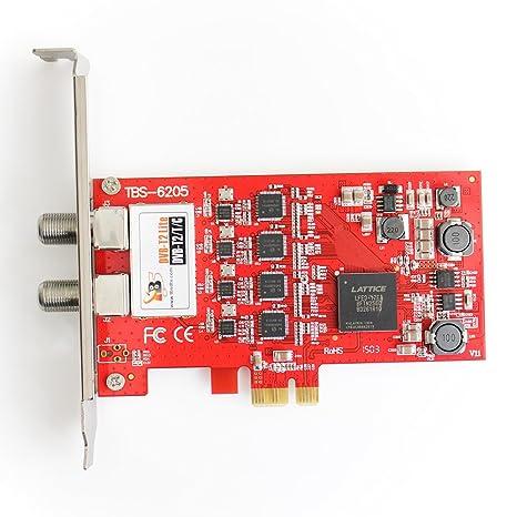 TBS®6205 Carte PCIeTV Tuner DVB-T2 / T / C Quad TV TV Tuner - Carte Professionnelle 4 tuners TNT et câble - Nouvelle version de la TBS6285 - Compatible avec Windows et Linux pour Recevoir les Chaînes télé TNT et du Câbl