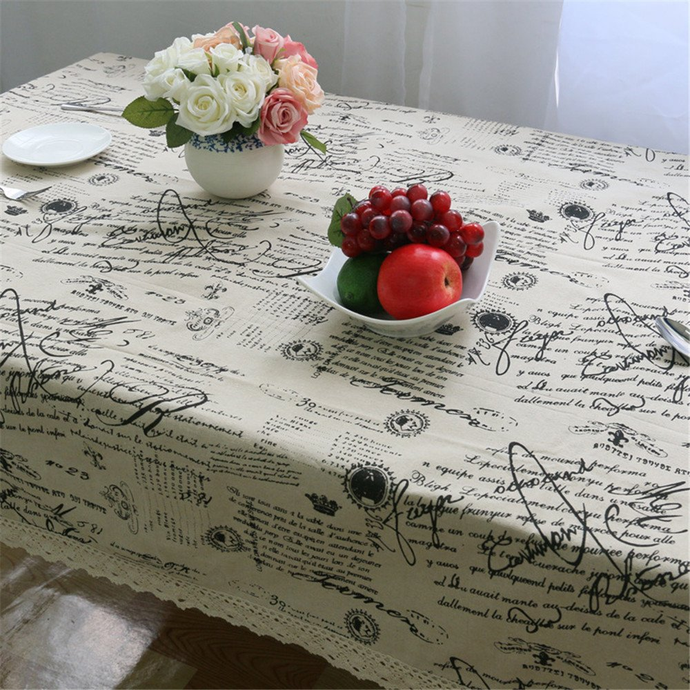 Superwinger Vintage Lace Tex Tablecloth,Linen Embroidered Rectangle Quotes Washable Dinner Picnic Table Cloth,Assorted Size. 1