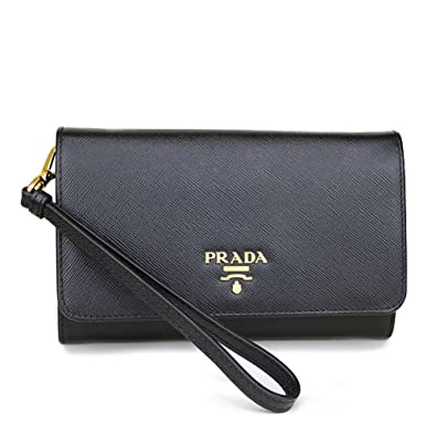 prada alligator purse - Prada Black Wristlet with Folding Wallet Ladies Saffiano Black ...
