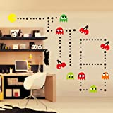 ufengke® Cartoon Pac-Man Games Wall Decals, Children's Room Nursery Removable Wall Stickers Murals (Color: Green)