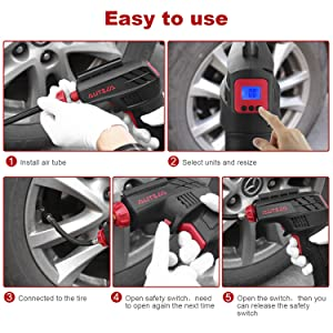 AUTSCA Air Compressor Electric Inflator Portable Air Compressor Low Noise Rechargeable Battery Handheld Emergency 12V 130PSI (Color: Red, Tamaño: Without light)
