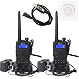 Retevis RT5 Walkie Talkies Rechargeable 7W Dual Band Radio 136-174/400-520MHz FM Scan VOX Car Charging Function Ham Radio(Back,2 Pack)with Programming Cable