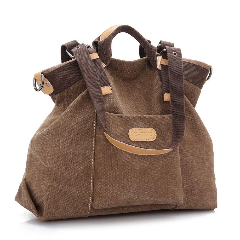 Museya Womens Girls Large Capacity Leisure Canvas Handbag Tote Shoulder Bag Cross body Messenger Bag Travel Bag (Coffee)review and more information
