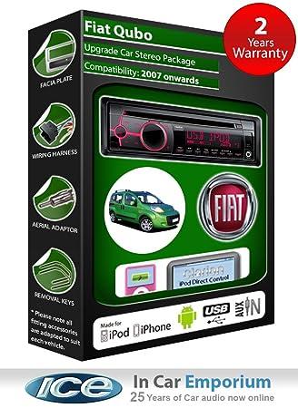 Fiat Qubo Autoradio CD MP3 radio play Clarion, iPod, iPhone, Android