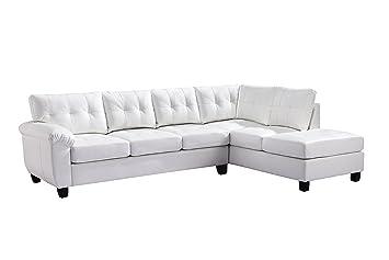Glory Furniture G907B-SC Sectional Sofa, White, 2 boxes