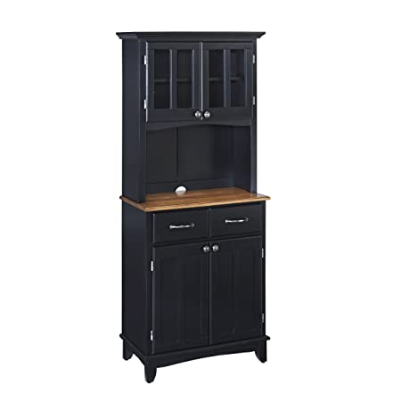Home Styles 5001-0046-42 Buffet of Buffet 5001 Series with Cottage Oak Wood Top Hutch, Black, 29-1/4-Inch