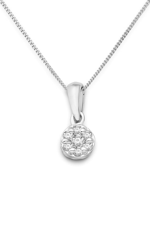 Miore Damen-Halskette mit Anhänger ca. 0.10ct Brillanten 9 Karat 375 Weißgold SA943N