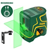 Laser Level 98ft, USB Rechargble, Laser Line Green Cross TECCPO, Self Leveling and Pulse Function, Magnetic Support, 360 ° Rotating, IP54 - TDLS09P (Color: Green-yellow)