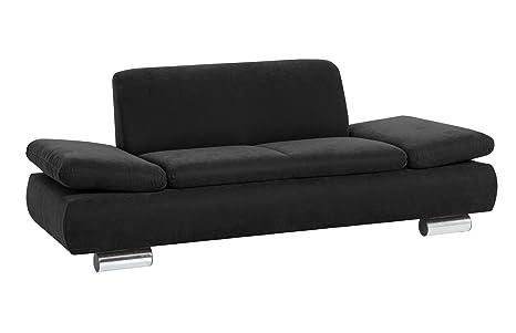 Max Winzer 287121002051740 Sofa Tournai 2-Sitzer samtiges Flachgewebe, schwarz