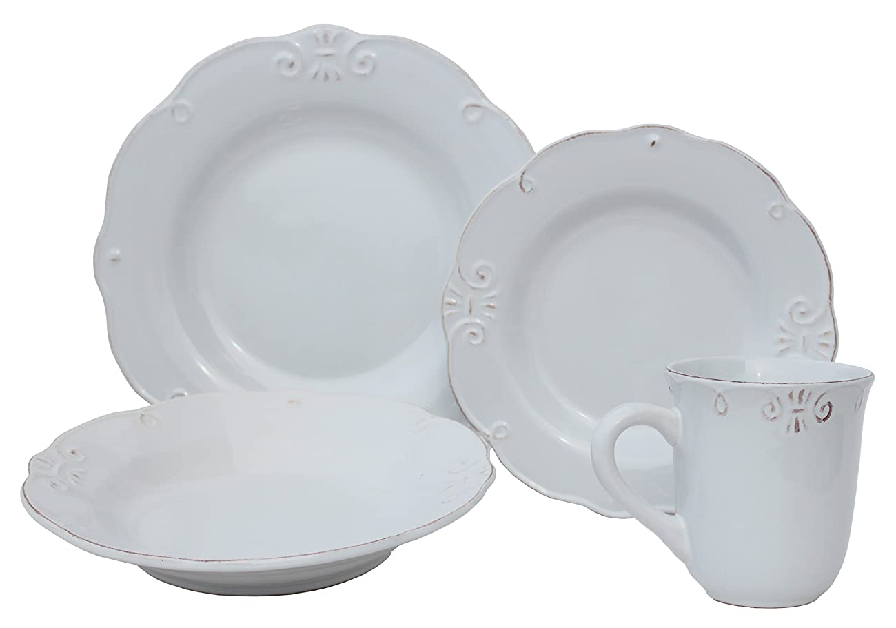 Melange 32 Piece Antique Edge Stoneware Dinner Set Place Setting, Serving for 8, White 0