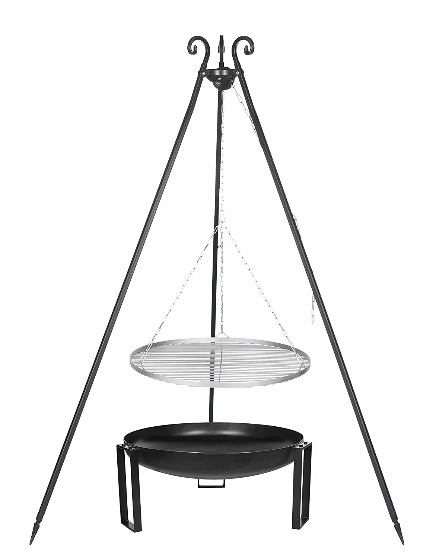 Der Schwenkgrill aus Edelstahl 70 cm, auf dem Dreibein mit der Feuerschale # 36 günstig online kaufen