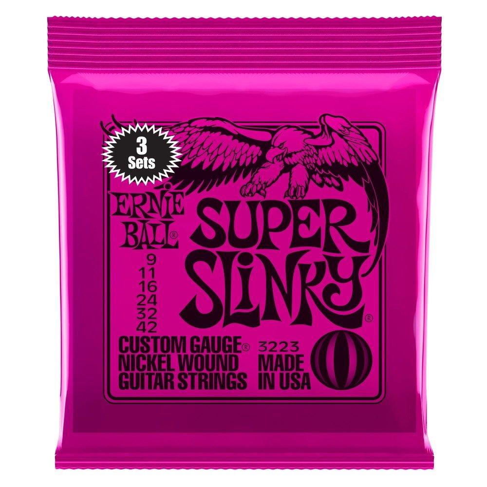 Ernie Ball 3223 Super Slinky Nickel Wound Sets, .009 - .042 (3 Pack)