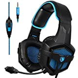 Sades SA-807 Stereo Gaming Headset Headphones 3.5mm Wired Over-Ear with Microphone Volume Control for PS4 PC Mac New Xbox one Laptop iPad iPod (Black Blue) (Color: Sades SA807 Black Blue)