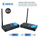 OREI Wireless HDMI Transmitter Extender Receiver HDbitT Supports Full HD 1080P with IR - Upto 600 FT (Color: Black, Tamaño: Wireless Extender - 600 Feet)