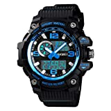 Mens Military Watch Digital Waterproof Wrist Watches Outdoor Sport Multifunction Casual Dual Display 12H/24H Stopwatch Calendar Watch - Small Black Blue (Color: Small Black Blue, Tamaño: Small)