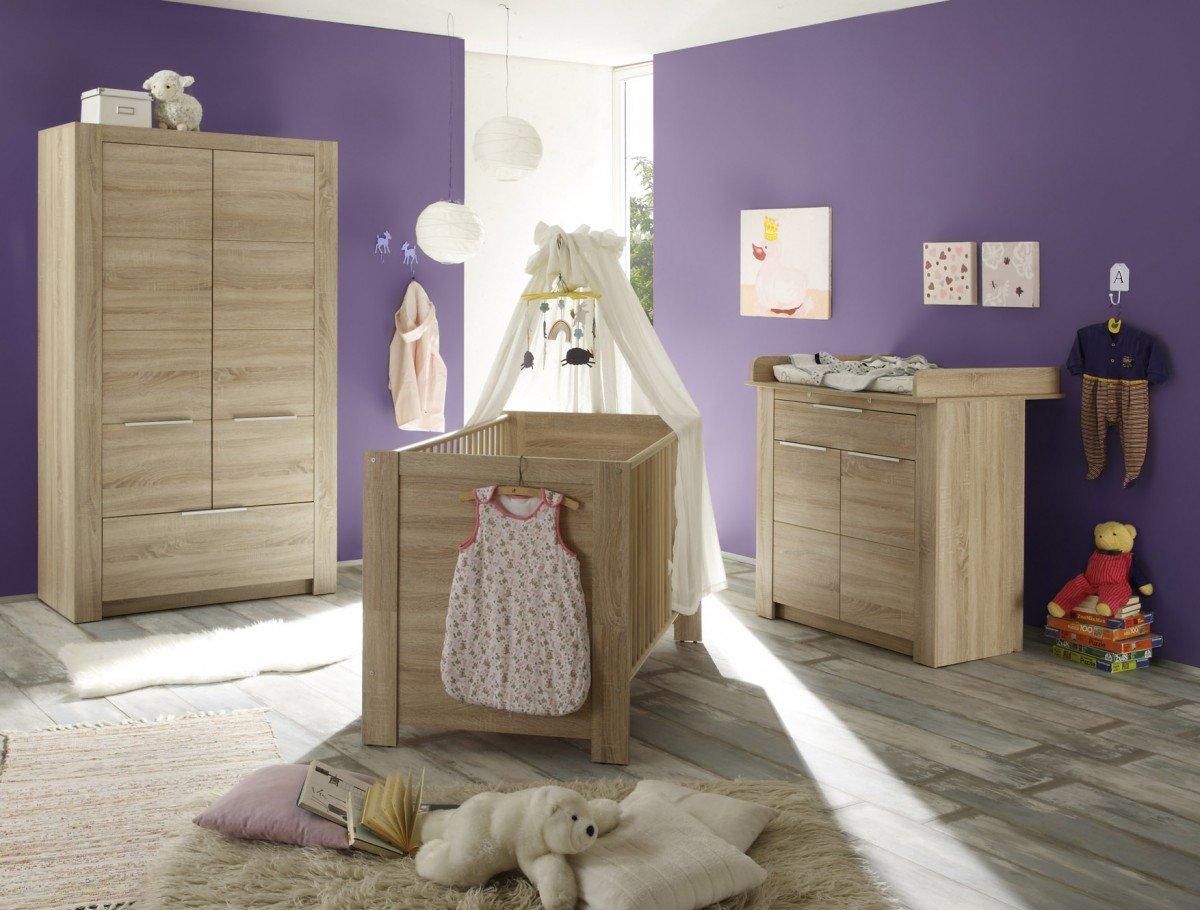 Dreams4Home Babyzimmer Set 'Stine', Babyzimmerkombination,Babyzimmer komplett,Babybett,Wickelkommode,Kleiderschrank,Eiche Sägerau hell