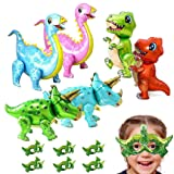 Dinosaur Balloons-12 PCS Inflatable 3D Dinosaur Birthday Party Supplies Decorations Large Foil Balloons for birthdays/Jungle Theme Party,T Rex Dino Triceratops Stegosaurus