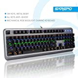 SAREPO Mechanical Gaming Keyboard – Mechanist Macro Software Blue Switch 9 Modes Multicolor Led Backlight Gaming Keyboard Metal Body with 8 Extra Silent Black Switches for Professional Gamers