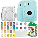 Fujifilm Instax Mini 9 Instant Camera (Ice Blue) + Fujifilm Instax Mini Twin Pack Instant Film (20 Exposures) + Glitter Hard Case + Colored Filters + Album + Sticker Frames Nature Package (Color: Ice Blue)
