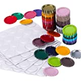 TecUnite 100 Pieces Flattened Bottle Caps in Double Sides Printed Mixed Colors and 100 Pack 1 Inch Clear Stickers for Photo Pendant Craft Jewelry Making