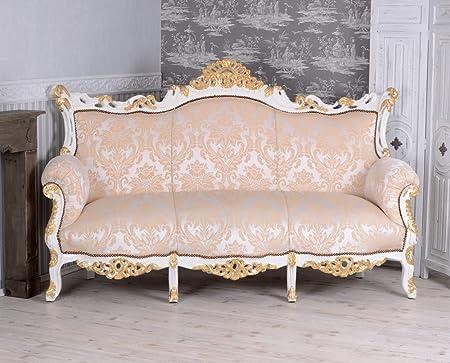 Gigant Sofa Barock Salonsofa Cremeweiss Prunksofa 200cm Barocksofa