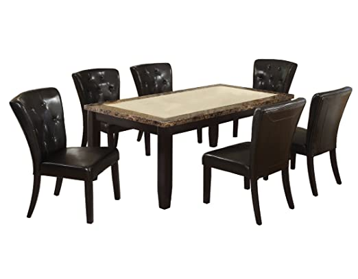 Furniture of America Richelieu 7-Piece Dining Table Set with Faux Marble Top, Black Finish