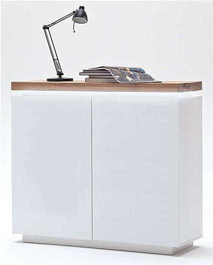 Kommode in matt weiß mit Deckplatte aus Asteiche massiv, 2 Turen und 4 Einlegeböden, inkl. LED-Beleuchtung, Maße: B/H/T ca. 120/114/40 cm