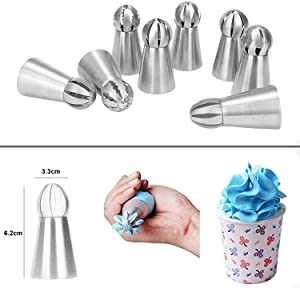 Russian Piping Tips 8 Pcs/Set, Messar Stainless Steel Russian Piping Ball Tips Frosting Icing Piping Nozzles Set Flower Cake Decorating Tips Kit for DIY Baking Cake Decorating Supplies (8 Pcs) (Color: 8 Pcs)
