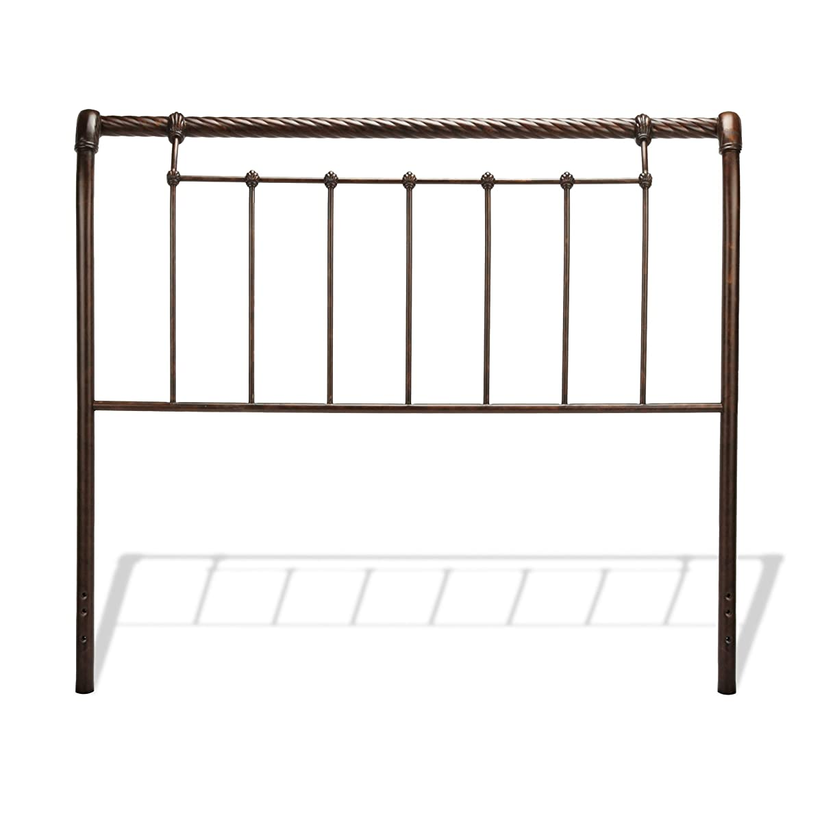 Fashion Bed Group Legion Complete Metal Bed and Steel Support Frame with Sleigh-Styled Panels and Twisted Rope Top Rails, Ancient Gold Finish, Queen