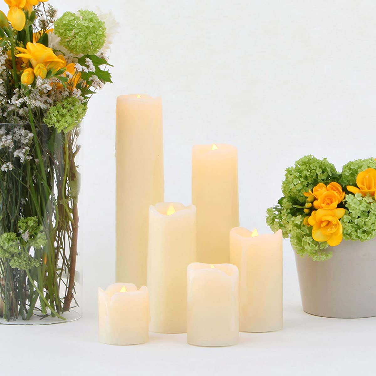 Variety Set of 6 Cream Slim Wax Drip Flameless Candles with Bright Warm White LEDs, Batteries Included