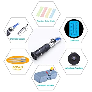 Salinity Refractometer for Seawater and Marine Fishkeeping Aquarium 0-100 PPT with Automatic Temperature Compensation (Tamaño: Salinity Refractometer)