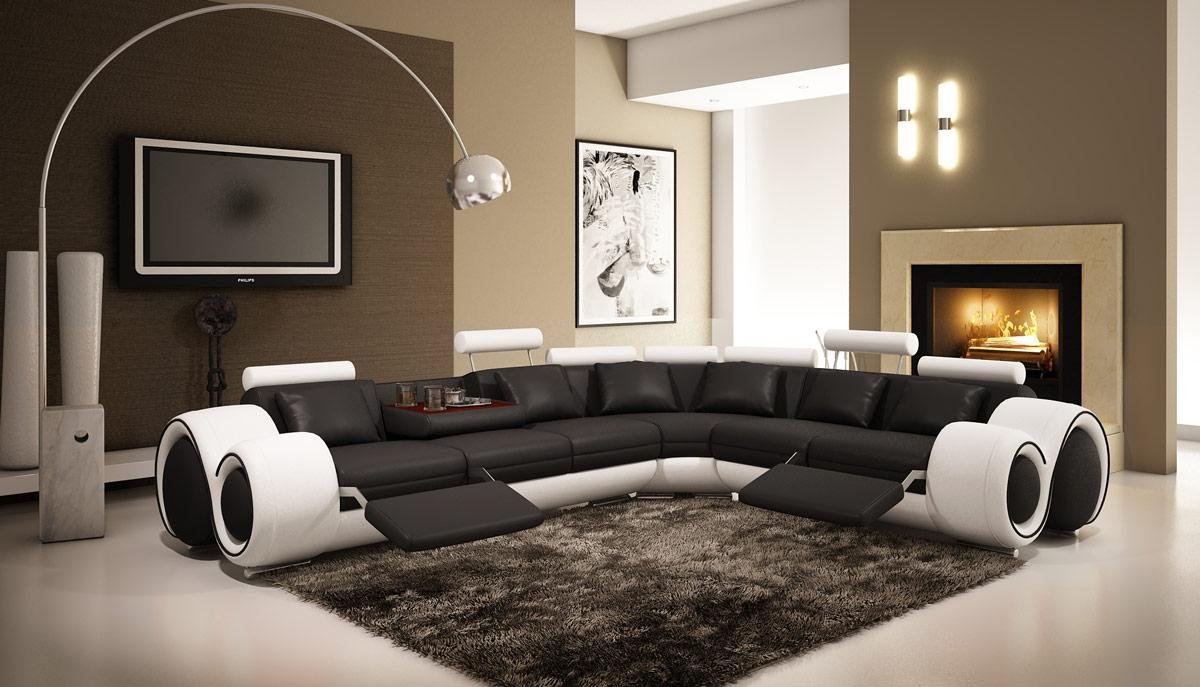 4087 Black & White - Modern Leather Sectional Sofa with Recliners