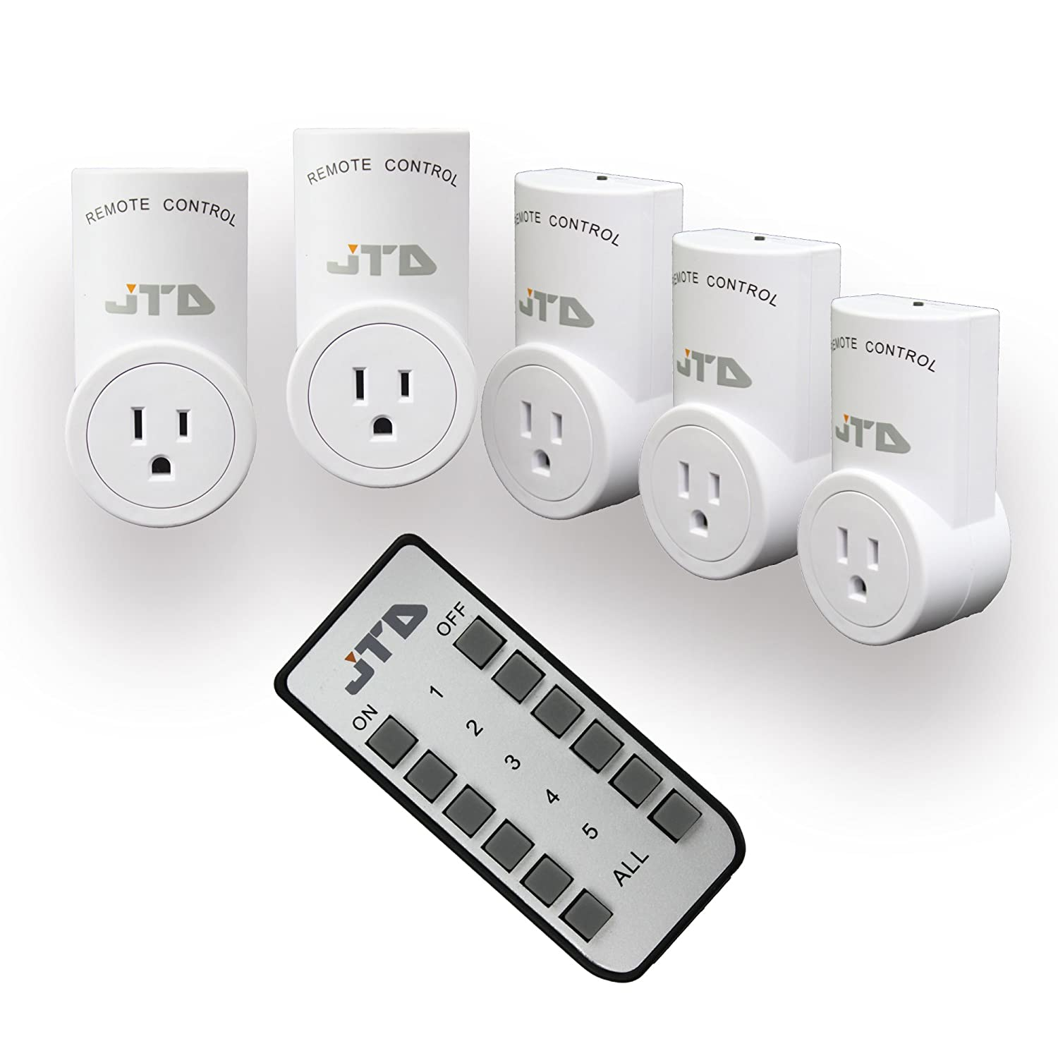 JTD ® 5 Pack Wireless Remote Control Electrical Outlet Plug with ...
