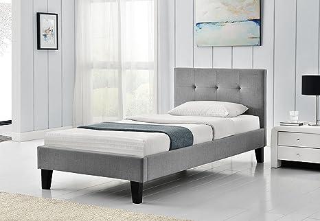 Blenheim grau Stoff gepolsterten Bett Rahmen zugeknöpft Kopfteil Einzel-, Doppel oder King Größe by Sleep Design, Textil, 0,9 m