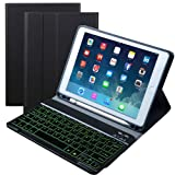 Eoso 7 Color Backlit Keyboard case for New 2018 2017 iPad Pro 9.7 iPad Air 1, 2 with Detachable Quiet Slim Leather Folio Cover Built-in Pencil Holder(Pencil Black) (Color: Pencil Black, Tamaño: for New 2018 2017 iPad Pro 9.7 iPad Air 1, 2)
