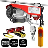 Partsam 440 lbs Lift Electric Hoist Crane Remote Control Power System, Zinc-Plated Steel Wire Overhead Crane Garage Ceiling Pulley Winch w/Premium Straps (UL/CUL Approval, w/Emergency Stop Switch) (Tamaño: 440 lbs w/ 2 Slings)