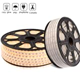 LED Strip Light Warm White 3000K Super Bright Dimmable, Cuttable & Waterproof Flex 110V High Voltage LED Lighting Strip Kit with Power Cord for Indoor Outdoor, 60 LEDs/Meter 164FT/50M SMD2835 (Color: Warm White, Tamaño: 50m)
