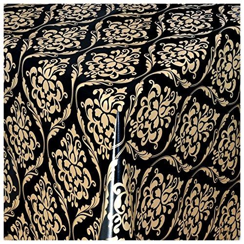 wachstuch tischdecke gartentischdecke abwaschbar barock verzierung schwarz gold 50x140 cm. Black Bedroom Furniture Sets. Home Design Ideas