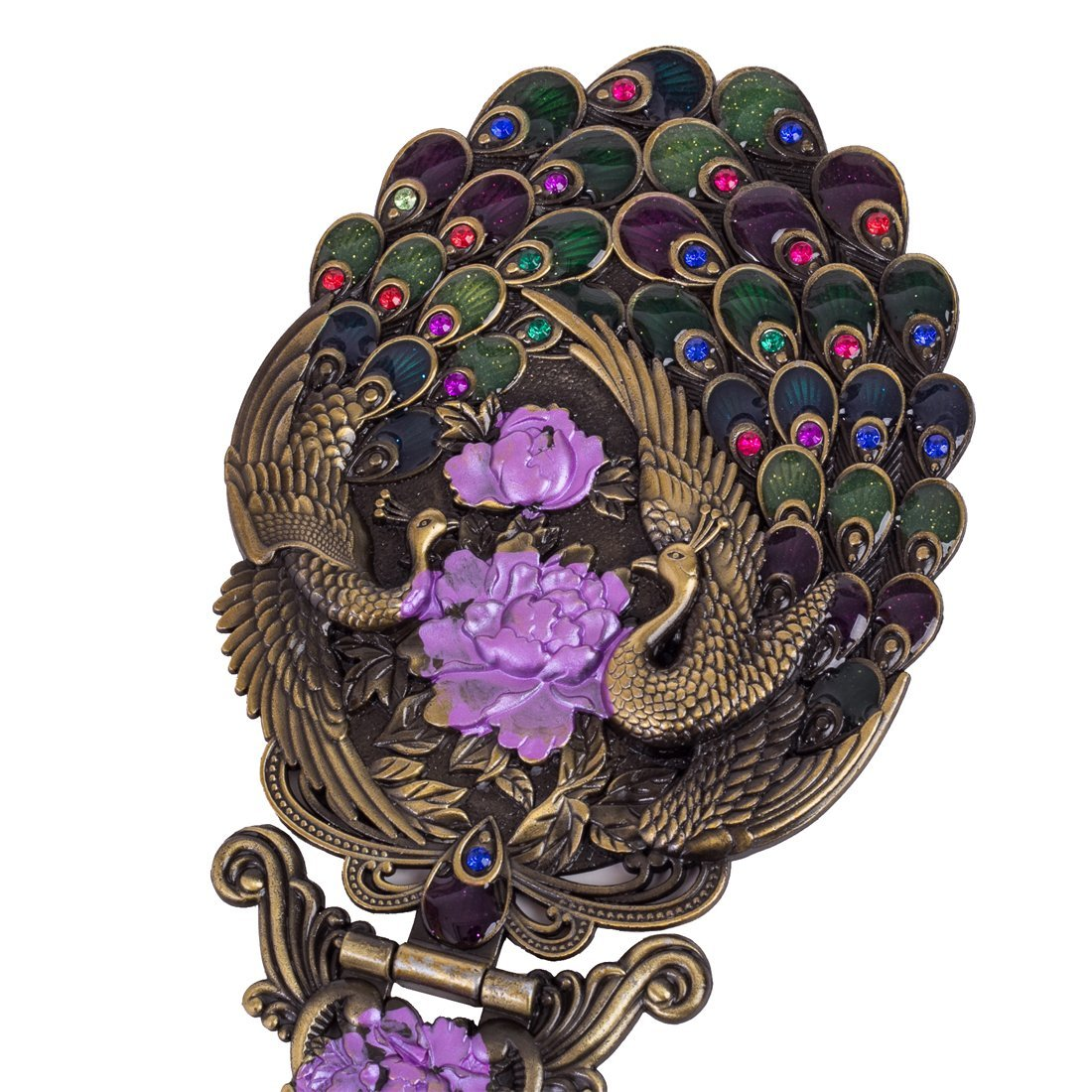 MOIOM Vintage Style Metal Foldable Oval Peacock Flower Pattern Makeup Hand/Table Mirror (Bronze) 3