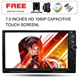 Upgraded 7 Inch Double Din Touch Screen Car Stereo Audio Receiver MP5 Player with Free Rear Camera and Steering Wheel Control and Remote Control Support PhoneLink/MP3/Radio/Bluetooth/Video