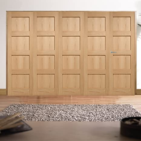 "Green Tree Doors Oak Shaker 4 Panel Internal Door Bifold System (610mm (24"") - 4 Doors)"