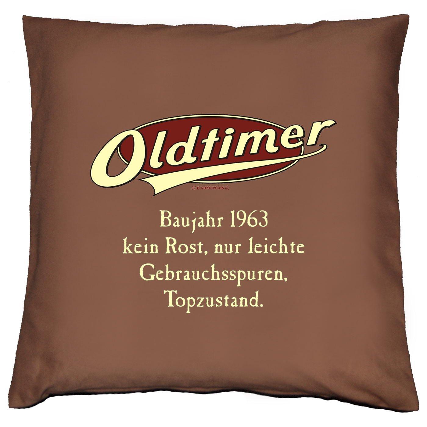 Kissen mit Innenkissen – OLDTIMER BAUJAHR 1963 – kein Rost, nur leichte Gebrauchsspuren, Topzustand. – zum 50. Geburtstag Geschenk – 40 x 40 cm – in schoco-braun günstig online kaufen