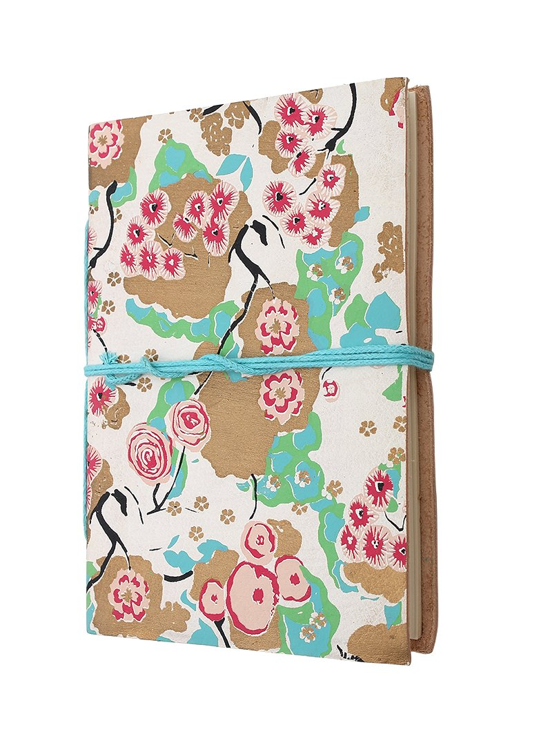 Mothers Day Gift Vibrant Floral Leather Journal Diary Book (7 x 5 inches) with Handmade Paper