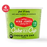 Miss Jones Baking Organic Cake In A Cup, Microwave in Under a Minute, Quick Mix, Less Mess Than a Mug: Chocolate Chip (Pack of 4)